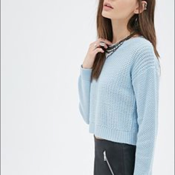 Forever 21 Sweaters Cropped Pastel Light Blue Sweater Poshmark